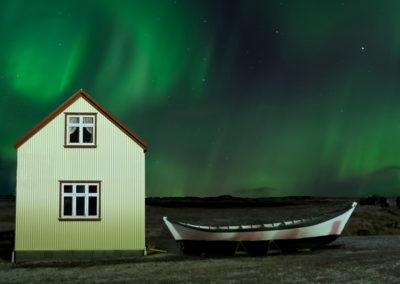Islande - aurore maison
