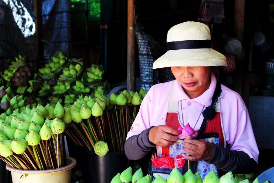 Thailande - marche aux fleurs de Bangkok